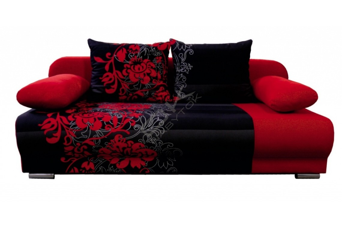 EMS Rozkladacia pohovka MONDO FLOWERS 3R - červený/červený kvet