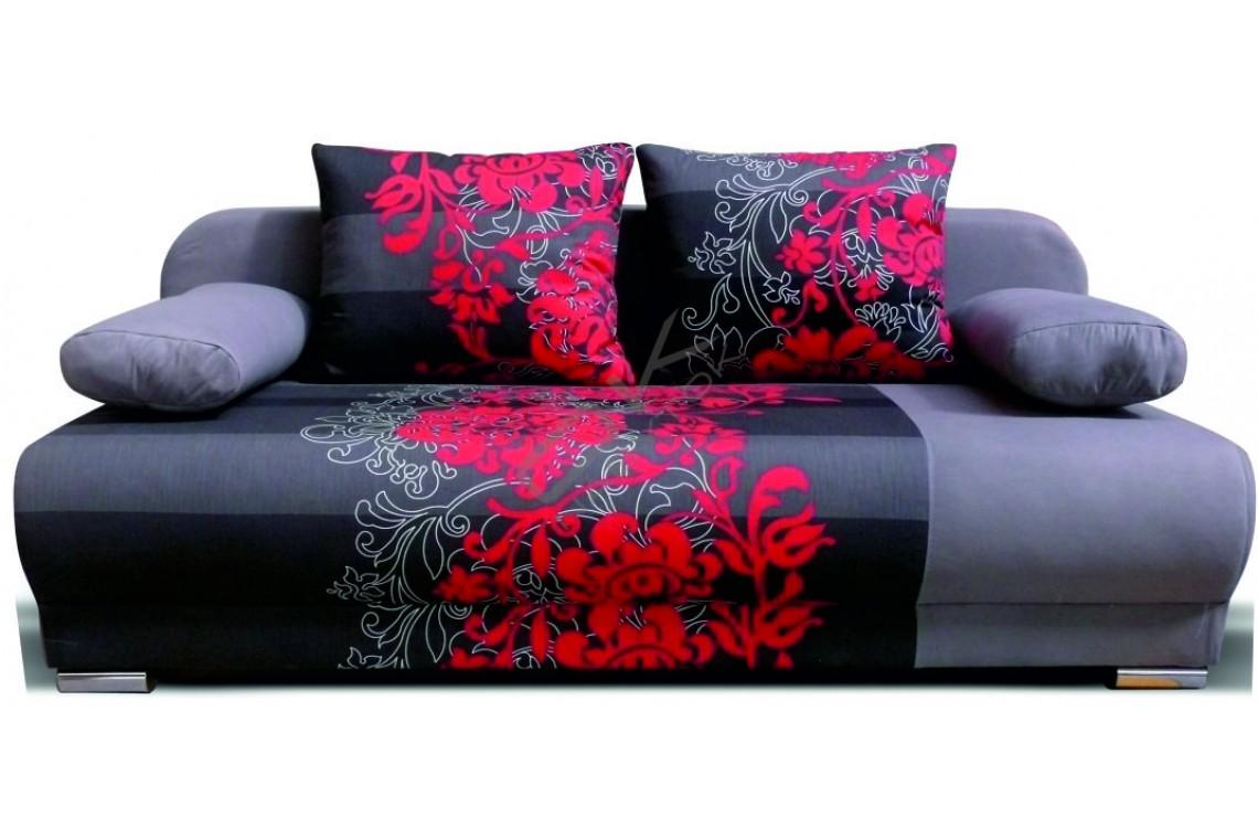 FENIX Rozkladacia pohovka REMI NEW FLOWERS 3R - sivý/červený kvet