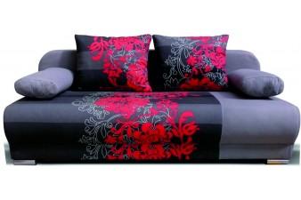 EMS Rozkladacia pohovka MONDO FLOWERS 3R - sivý/červený kvet