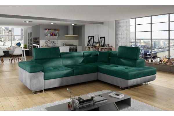 Rohová sedacia súprava ALVINI - smaragdová zelená/svetlosivá