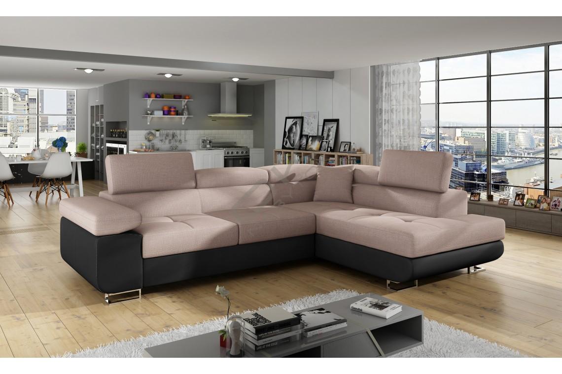 Rohová sedacia súprava ALVINI - powder pink/čierna