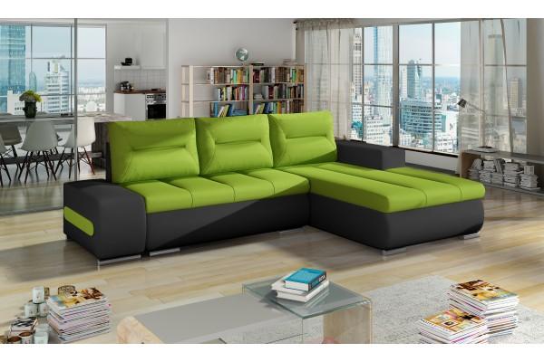Rohová sedacia súprava ATAVIA - zelená/čierna