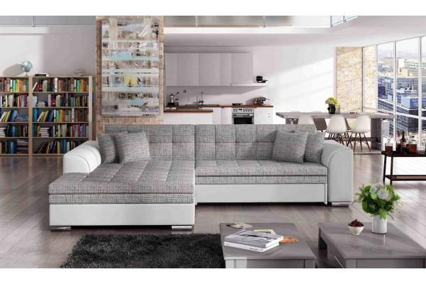 Rohová sedacia súprava DINO -  svetlosivá/biela