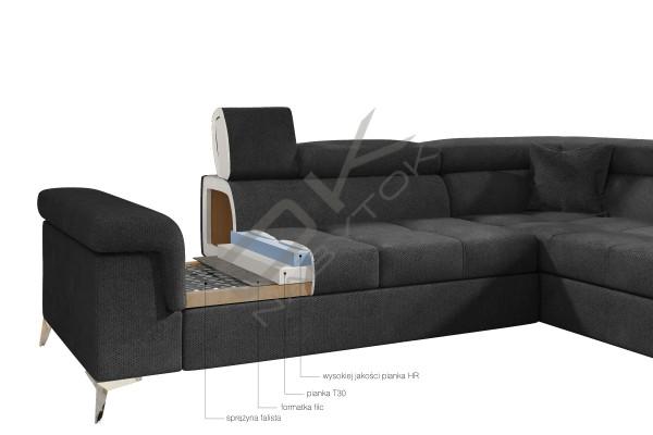 Luxusná rozkladacia rohová sedacia súprava ERIDANO - tmavosivá/biela