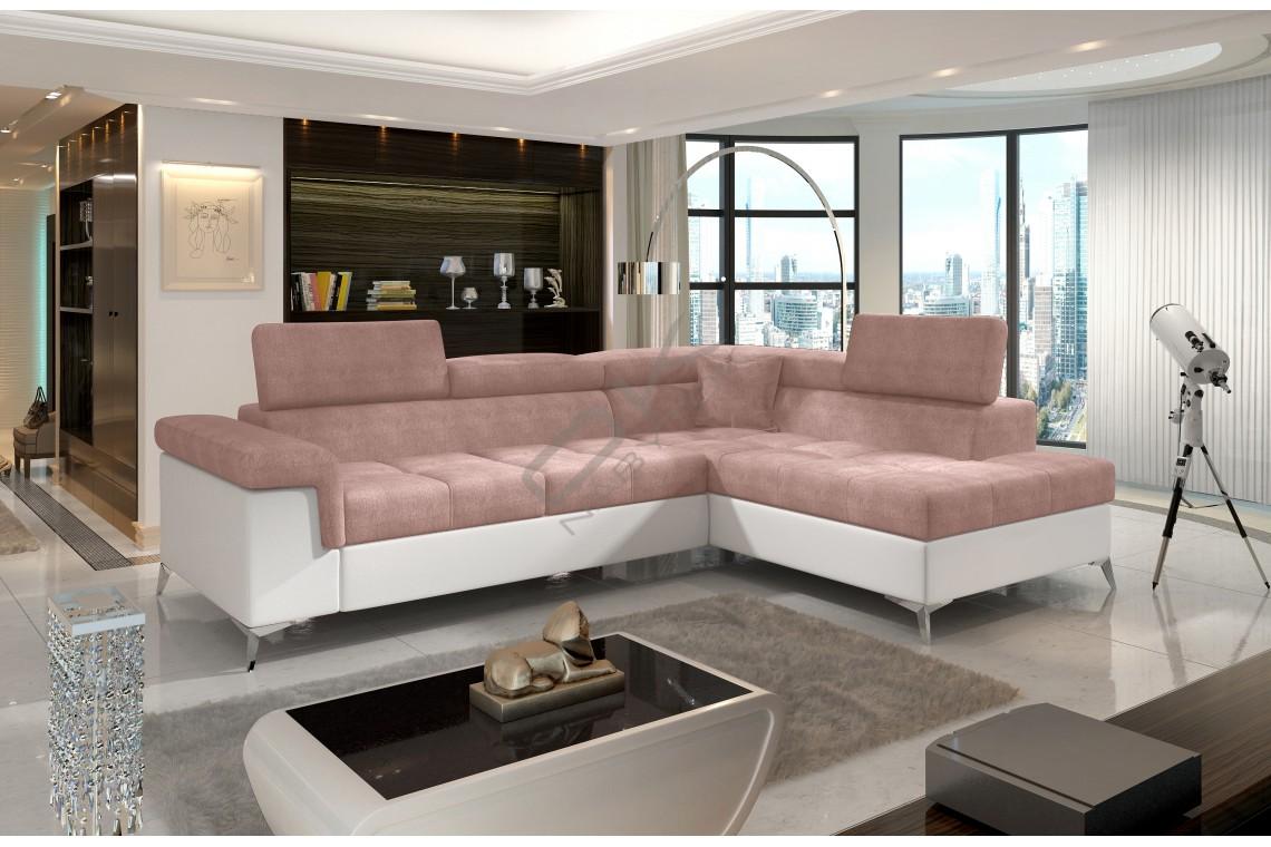 Luxusná rozkladacia rohová sedacia súprava ERIDANO - fialová/biela