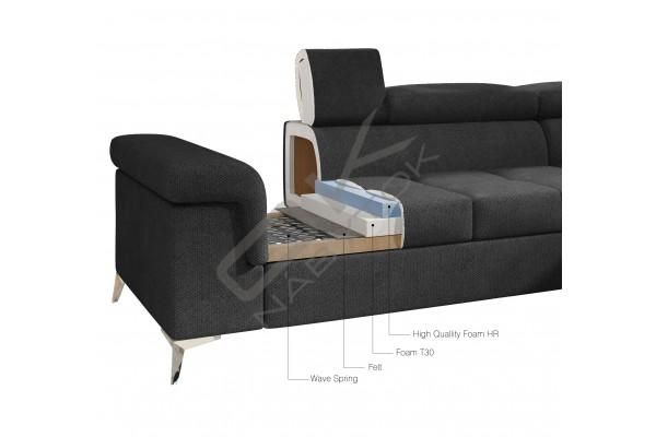 Luxusná rozkladacia rohová sedacia súprava ERIDANO - svetlohnedá