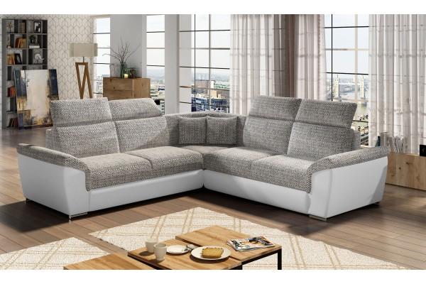 Luxusná rozkladacia rohová sedačka FRED - svetlosivá/biela