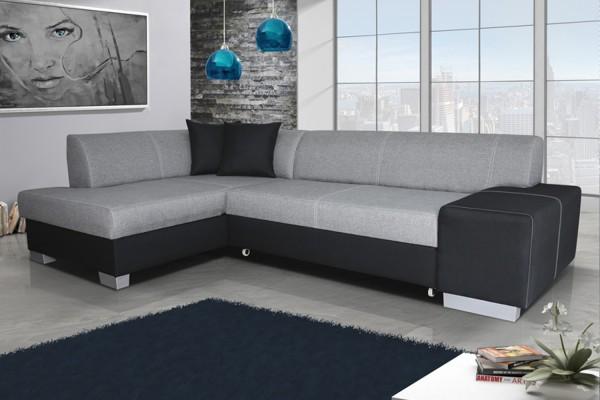 Rohová sedacia súprava FABIO - sivá/čierna