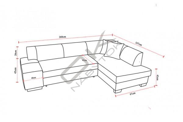 Rohová sedacia súprava FABIO - sivá/tmavosivá