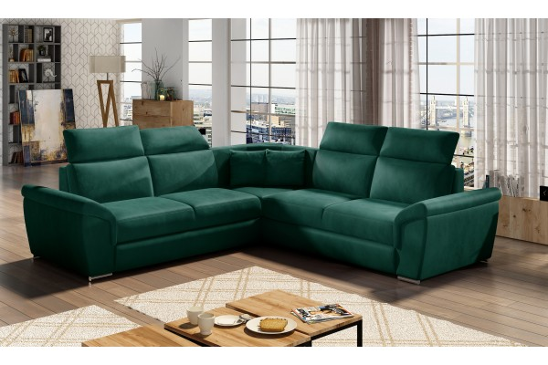 Luxusná rozkladacia rohová sedačka LORCA - smaragdovozelená