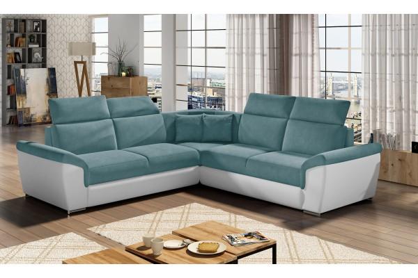Luxusná rozkladacia rohová sedačka LORCA - modrá/biela