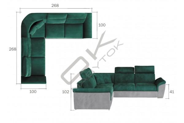 Luxusná rozkladacia rohová sedačka LORCA - lososová/svetlosivá
