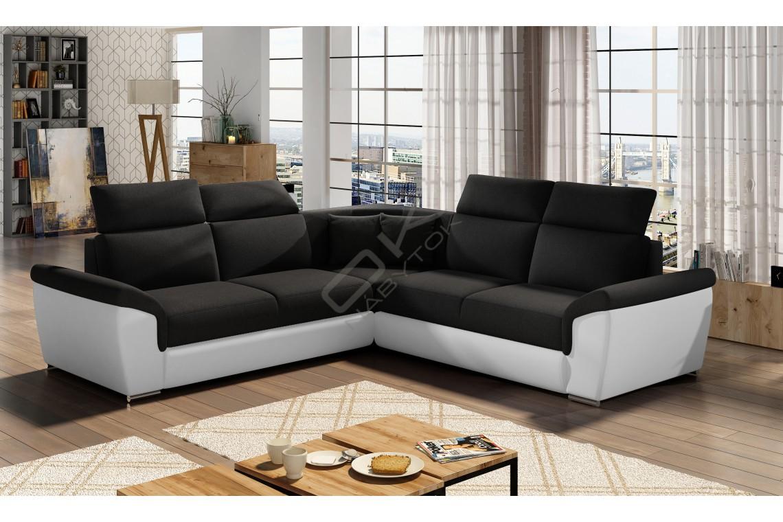 Luxusná rozkladacia rohová sedačka LORCA - čierna/biela