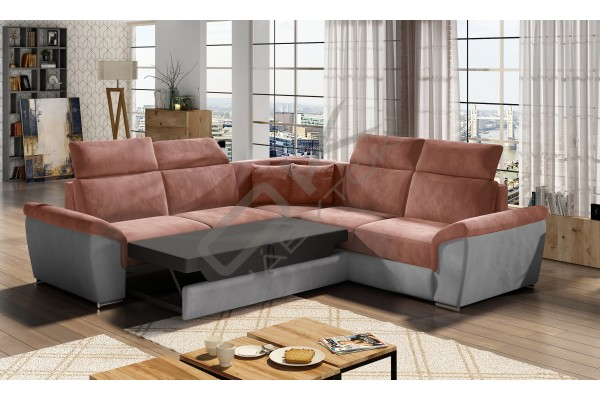 Luxusná rozkladacia rohová sedačka LORCA - cappuccino/tmavohnedá