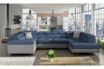 Roosevelt - Soro 76 modrá + eko koža Soft 29 tmavosivá/korpus + Botanical 80/vankúše