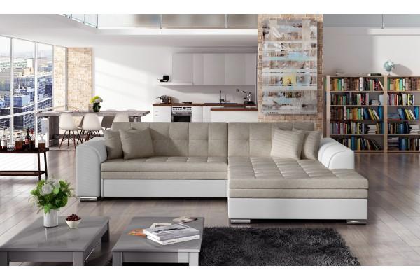 Rohová sedacia súprava SYDNEY -  svetlohnedá/biela