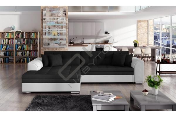Rohová sedacia súprava SYDNEY -  čierna/biela