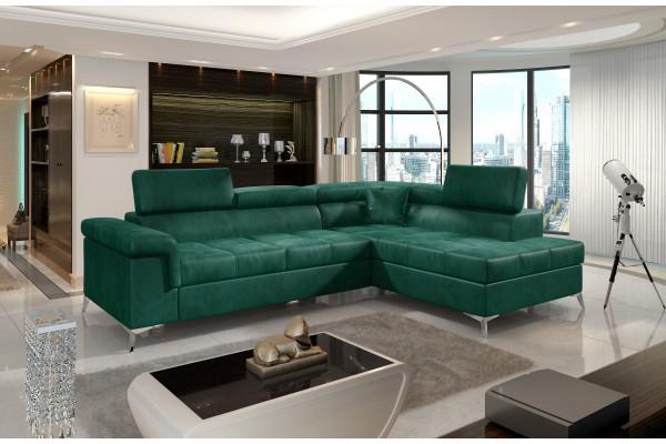 Luxusná rozkladacia rohová sedacia súprava TREGO - smaragdovo zelená