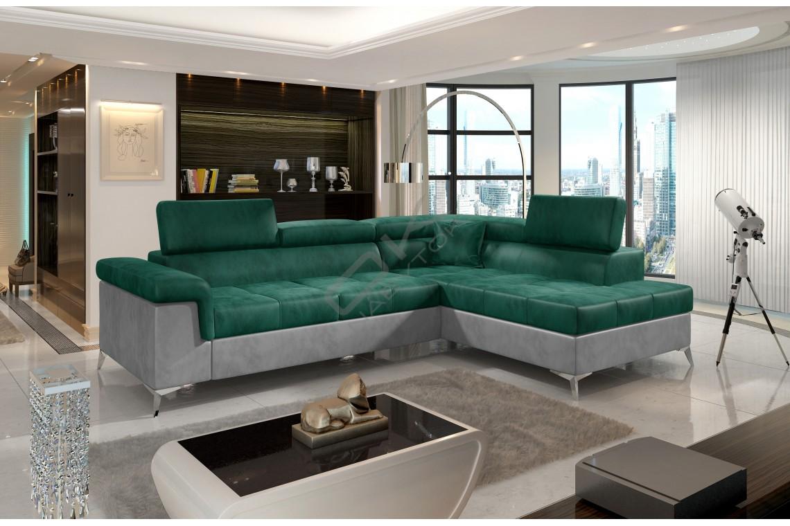 Luxusná rozkladacia rohová sedacia súprava TREGO - smaragdovo zelená/svetlosivá