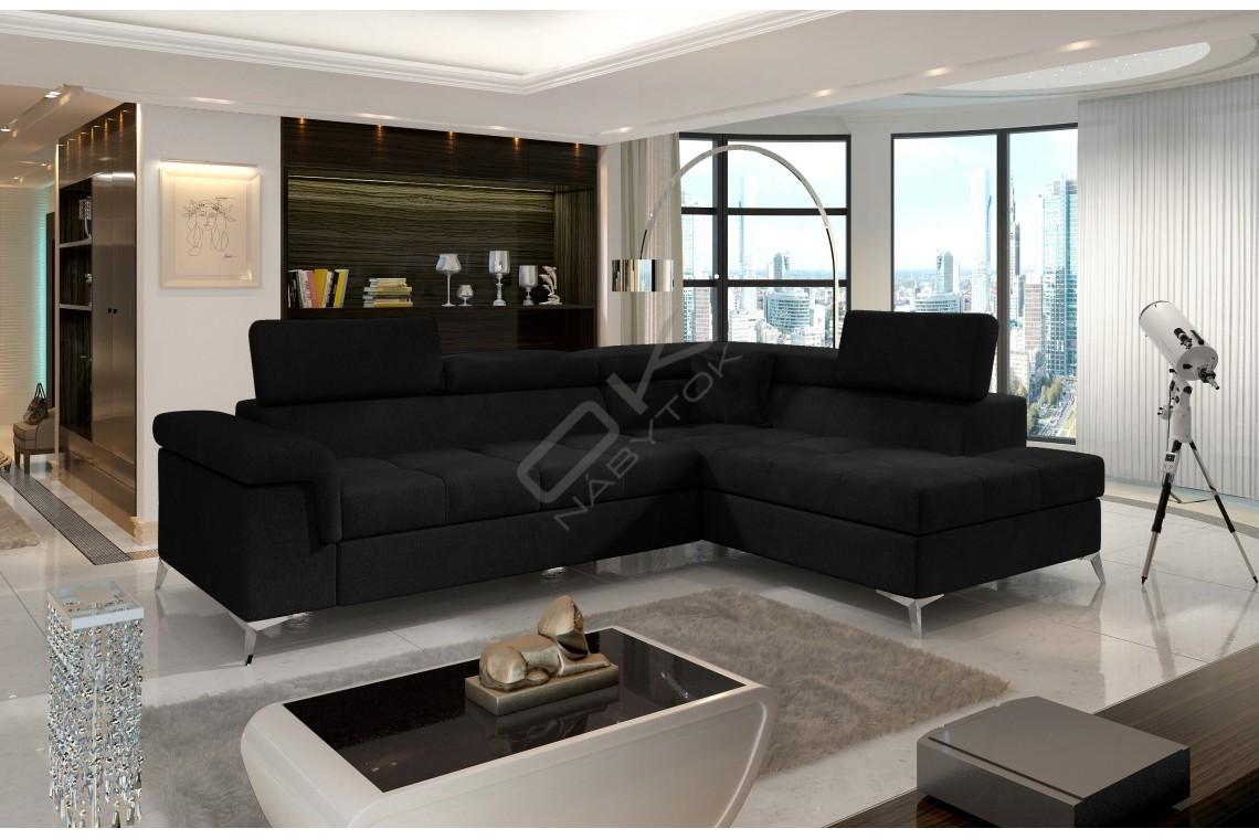 Luxusná rozkladacia rohová sedacia súprava TREGO - čierna