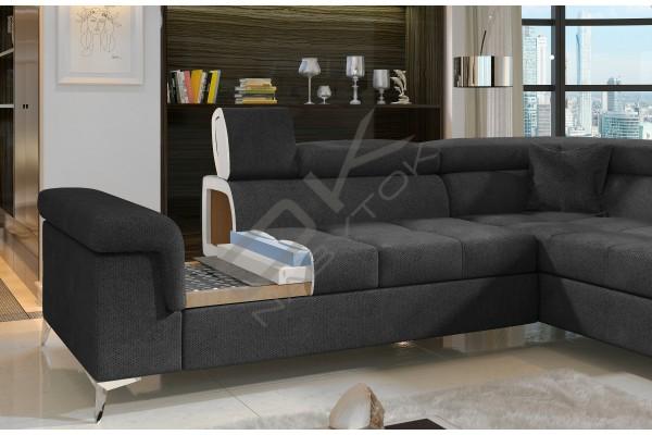 Luxusná rozkladacia rohová sedacia súprava TREGO - svetlosivá/čierna