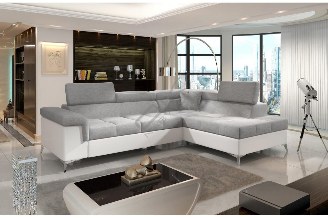Luxusná rozkladacia rohová sedacia súprava TREGO - svetlosivá/biela