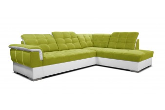 Rohová sedacia súprava SHANI - oliva/biela