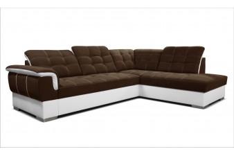 Rohová sedacia súprava SHANI - tmavohnedá/biela