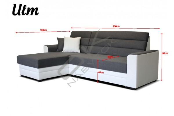 Univerzálna rohová sedacia súprava ULM - tmavohnedá/biela