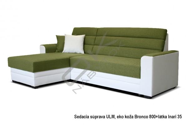 SKLADOM Univerzálna rohová sedacia súprava ULM - oliva/biela
