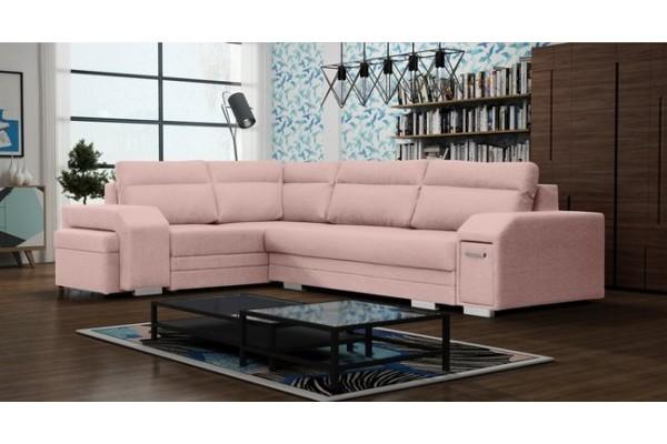 Rohová sedacia súprava ALVARES - powder pink