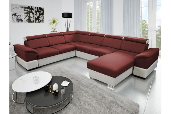 Rozkladacia sedacia súprava JOY U PANORAMIC - tmavočervená/biela
