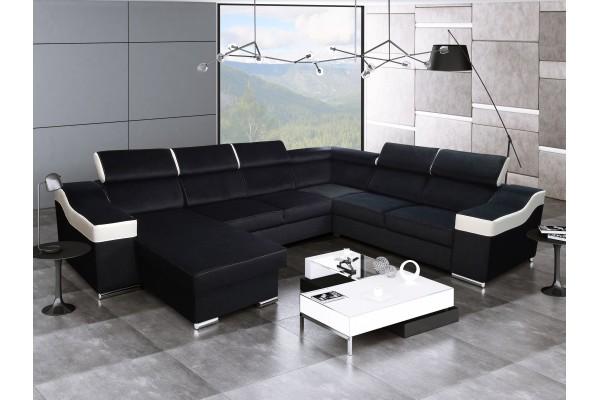 SKLADOM Rozkladacia sedacia súprava KAMELIA  - čierna/biela