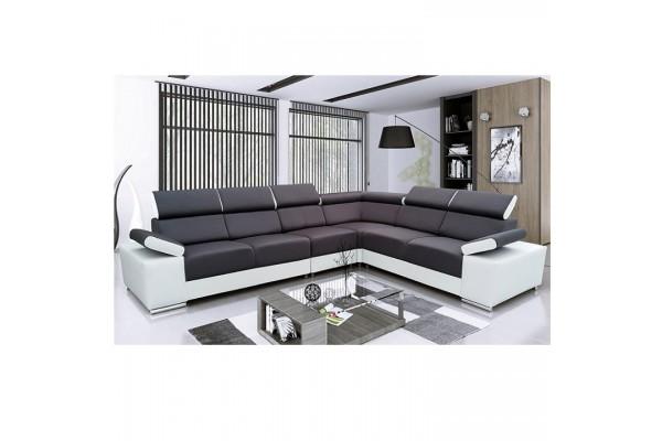 Rohová sedacia súprava LORENZO - čierna/biela