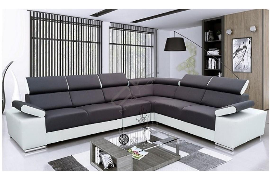 FENIX Rozkladacia rohová sedacia súprava MARBELA ROH - čierna/biela