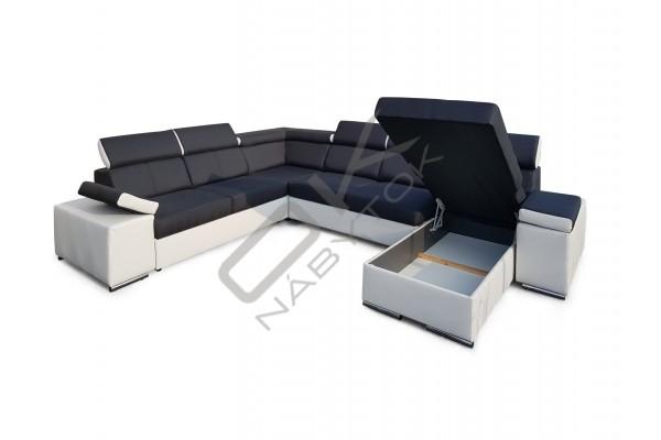 FENIX Rozkladacia sedacia súprava MARBELA v tvare U - svetlosivá
