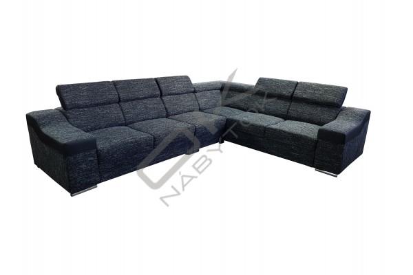FENIX Rohová rozkladacia sedacia súprava MONAKO VEĽKÝ ROH - graphite/biela