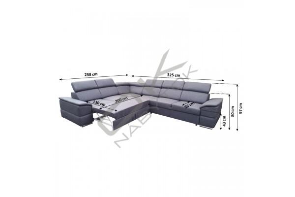 FENIX Rozkladacia sedacia súprava LOFT -  svetlosivá/tmavosivá