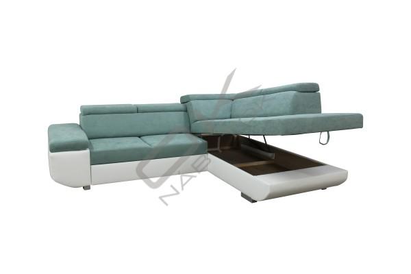 Rohová sedacia súprava BUTON - Tyrkys/biela