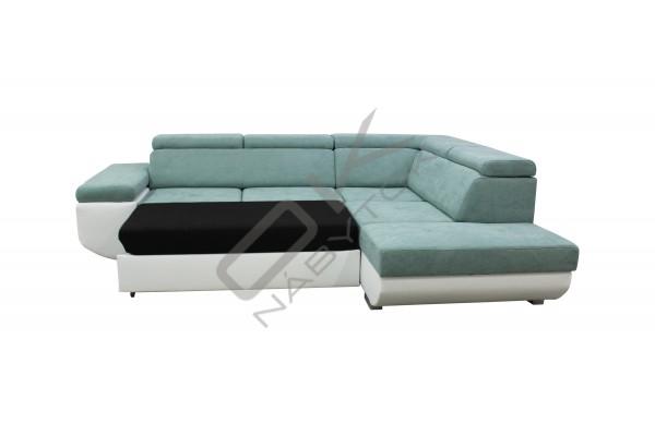 Moderná rohová sedacia súprava CAILA - tyrkys/biela