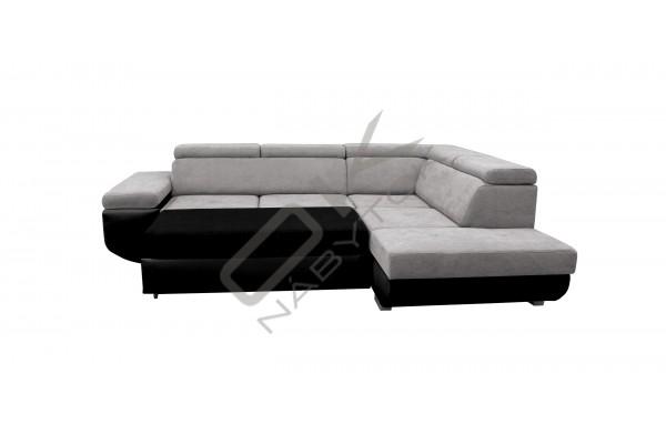 Rozkladacia rohová sedacia súprava DIAMANTE - svetlosivá/čierna