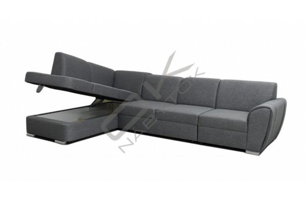 FENIX Rohová sedacia súprava DOLORES+taburetka - tmavosivá
