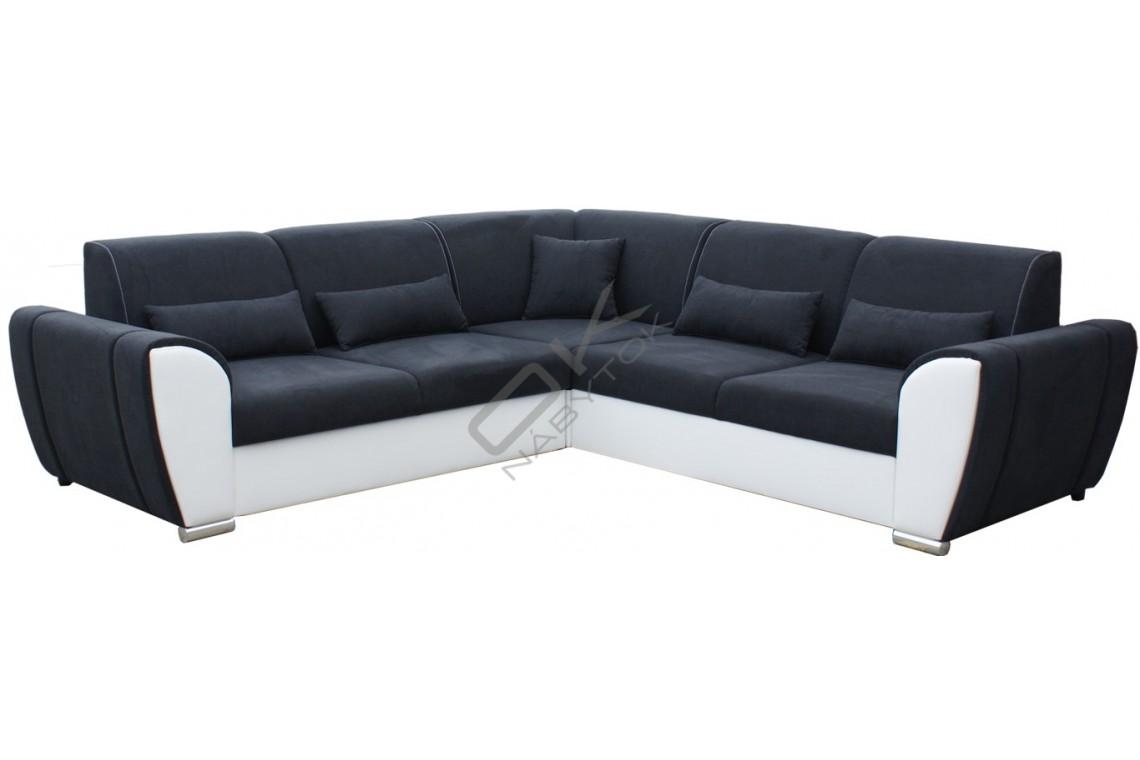 Rohová sedacia súprava DENIM - čierna/biela