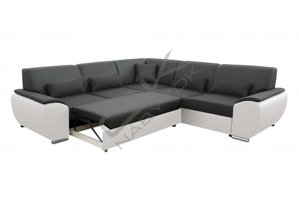 Univerzálna rohová sedacia súprava GLEN L - tmavosivá/biela