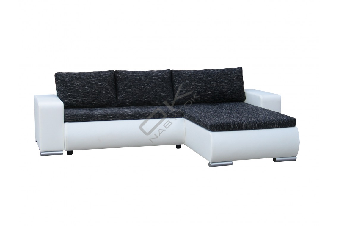 FENIX Rozkladacia rohová sedacia súprava ORION - čierna/biela