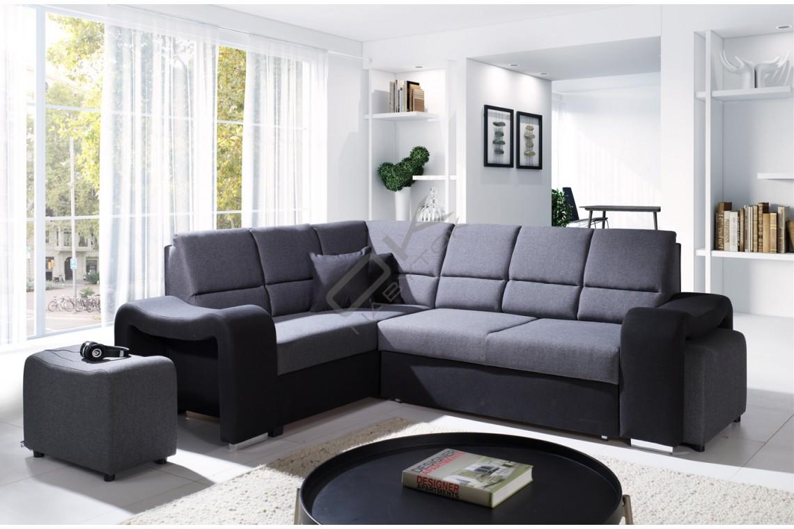 Rohová sedačka ALEGRO - tmavosivá/čierna
