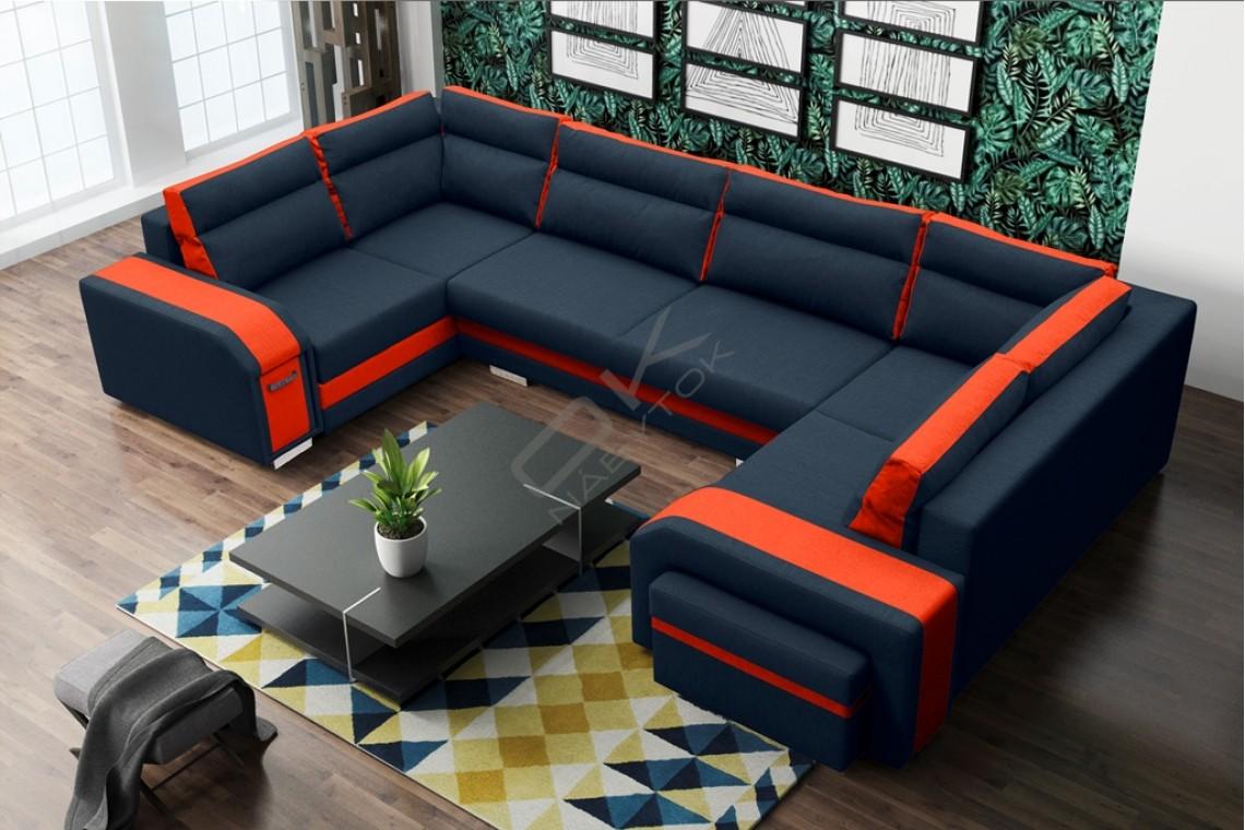 Rohová sedačka ASPERATA U - čierna/orange