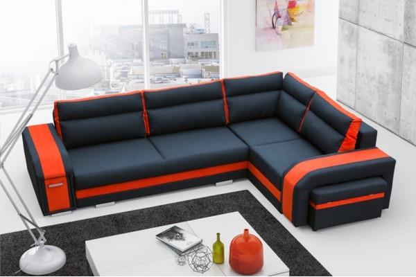 Rohová sedačka ASPERATA - čierna/orange
