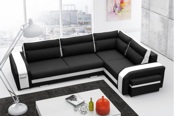 Rohová sedačka ASPERATA - čierna/biela