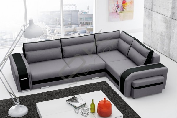 Rohová sedačka ASPERATA - svetlosivá/čierna